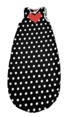 Black and white baby sleeping bag with red heart