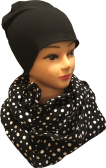 Tube scarf, black with white dots jersey