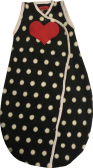 Black and white dots baby sleeping bag with red heart.