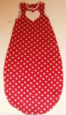 Red and white dots baby sleeping bag with white heart