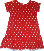 Hearts stretch terry dress, organic cotton, 50-158cm,
