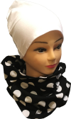 Tube scarf, black with white balls jersey